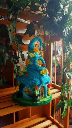 Handmade Crochet Fantasy Fairy or Gnome House OOAK door emcrafts Crochet Fairy, Crochet Dragon, Crochet Home, Love Crochet, Crochet Crafts, Crochet Dolls, Crochet Flowers, Cotton Crochet, Yarn Projects