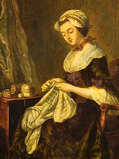 """ca. 1764. Detail of """"Domestick Amusement. The Fair Seamstress"""" by James Watson. This print is based on a painting by Johann Kaspar Heilmann (1718-1760)."""