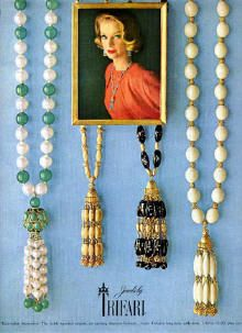"""Suspended Animation""  Town & Country Magazine 1962.  Love that we have similar tassel style necklaces at Monkee's right now!"