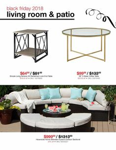 Black Friday News, Outdoor Furniture Sets, Outdoor Decor, Outdoor Sectional, Simple Living, End Tables, Coupons, Ads, Living Room