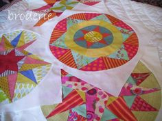 Gorgeous colors in these blocks for a Camelot quilt from Trish Harper Design