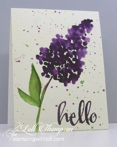 Q-Tip Lilac by Loll Thompson - Cards and Paper Crafts at Splitcoaststampers Q Tip Painting, Lilac Painting, Watercolor Paintings For Beginners, Watercolor Cards, Watercolor Flowers, Watercolour, Q Tip Art, Paint Cards, Flower Cards
