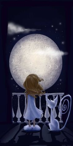 GIRL AND CAT LOOKING AT THE NIGHT MOON