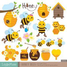 Honey Bees Digital Clipart