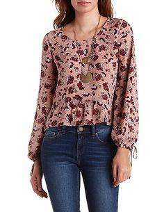 Ruffled Floral Print Long Sleeve Top #CharlotteLook #top