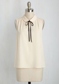 Feedback At It Sleeveless Top in Cream - White, Tan / Cream, Solid, Peter Pan Collar, Work, Darling, Sleeveless, Fall, Good, Variation, Collared, Woven, Mid-length