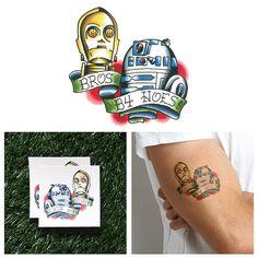 Star Wars  C3P0  R2D2  Temporary Tattoo Set of 2 by Tattify, $5.00