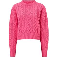 Isabel Marant Étoile Pink Wool Knitted Newlyn Jumper ($330) ❤ liked on Polyvore featuring tops, sweaters, pink, wool cable sweater, hand knit wool sweaters, round top, cropped cable knit sweater and slouchy sweater