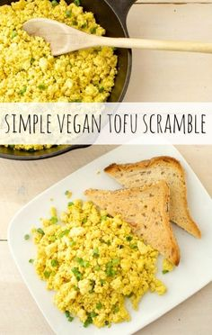 This simple vegan tofu scramble requires only 6 ingredients making it a breeze to prepare. Serve it at your next weekend breakfast or brunch for a healthier alternative to eggs! gluten-free via @WYGYP