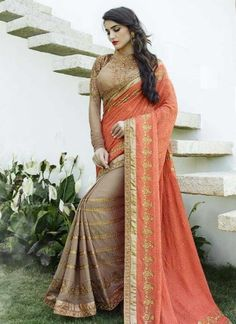 Classy Orange And Grey Embroidery Zari Thread Work Half N Half Saree  http://www.angelnx.com/