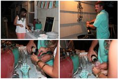 """low-key gender reveal """"Burgers, Fries & A Little Surprise!"""" with colored champagne--pink or blue!"""