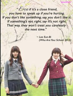 Who Are You: School 2015 quote // Kim So-hyun as Lee Eun-bi/Go Eun-byul Wer bist du ?: Zitat Schule 2015 (Folge // Kim So-hyun als Lee Eun-bi / Go Eun-byul Korean Drama Quotes, Korean Drama Movies, Korean Dramas, Korean Star, Korean Girl, Korean Actresses, Korean Actors, Korea Quotes, Who Are You School 2015