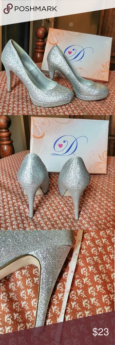Silver Glitter Heels 👠 Worn once 4 1/2 inch heel About 1/2 inch platform With original box Shoes Heels