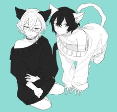 Neko Dazai and Chuuya Anime Neko, Anime Manga, Anime Art, Stray Dogs Anime, Bongou Stray Dogs, Neko Boy, Anime Guys With Glasses, Pikachu, My Demons