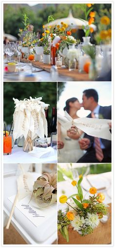 Oh who am I kidding? So much to love about this wedding. Hooray banners and stir sticks, fringed bunting, oranges as tablescape accents, etc.  #weddingideas