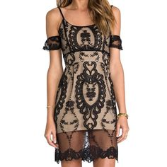 For Love & Lemons vienne lace dress NWT. Size M.   Color: black/nude.    NO TRADES.    For Love and Lemons Dresses