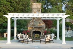 outdoor fireplace and seating area.  when can we start?