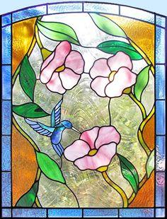 ZOOM to custom stained glass hummingbird flowers window