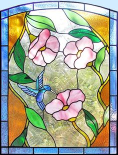 ZOOM to custom stained glass hummingbird flowers window