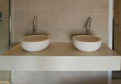 creamy wall hung stone basins on matching console shelf    Project 1 / Private Residence, Oxford - Wall Tiles: Trust Ivory 60 x 30 cm.
