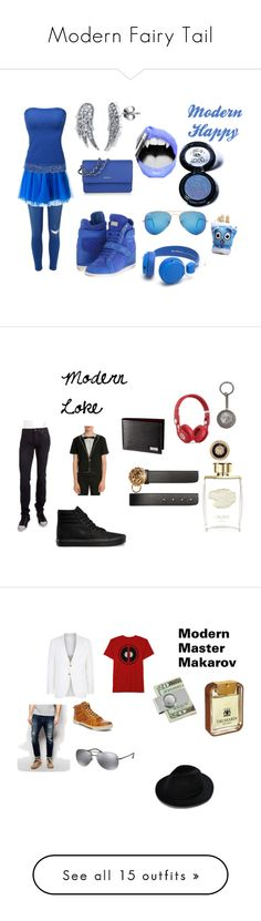 """""""Modern Fairy Tail"""" by gray-fullbuster ❤ liked on Polyvore featuring River Island, P.A.R.O.S.H., Doublju, Philipp Plein, DKNY, Ray-Ban, BERRICLE, Gosh, Medusa's Makeup and modern"""