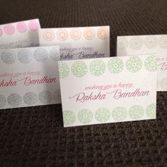Handmade raksha bandhan greeting cards. Traditional Indian print stamping in beautiful bold colours!