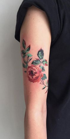 Traditional Vintage Realistic Pink Rose Arm Sleeve Tattoo - MyBodiArt.com