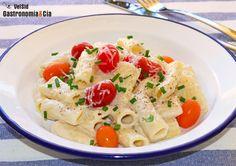 Rigatoni con salsa de queso y anchoas