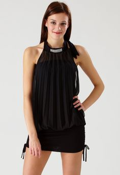 Black Diamonte Choker Pleat Dress - Womens Clothing Sale, Womens Fashion, Cheap Clothes Online   Miss Rebel