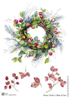 Image wreath of twigs with green leaves and red small apples and berries. Woven decorative branches arborvitae , which gives the product the character of Christmas - buy this stock illustration on Shutterstock & find other images. Illustration Noel, Christmas Illustration, Botanical Illustration, Watercolor Illustration, Watercolor Christmas Cards, Watercolor Cards, Watercolor Flowers, Merry Little Christmas, Christmas Art