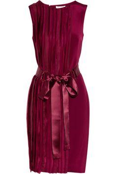 Oscar de la Renta Grosgrain-trimmed silk-sateen dress