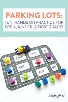 "Looking for a fun way to review addition, sight words, letter names/sounds, and more?! I love using parking lots to review all sorts of skills in Pre-K, Kindergarten, and 1st grade. Students love to drive the cars all over the board and park their ""cargo"" in the right spot! Head on over to watch how I play in my classroom and grab a FREE template!"