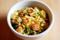 Quick and Easy Tofu Fried Rice - skipped the scrambled eggs to make it vegan; would double rice next time