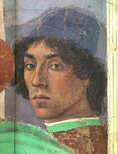 """Filippino Lippi self portrait as a crowd member in """"The Dispute with Simon Magus"""". Lippi completed the Masaccio frescos which were left unfinished at the artist's early death."""