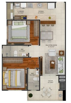 3d House Plans, Model House Plan, House Layout Plans, Floor Plan Layout, Small House Plans, House Layouts, Small Apartment Plans, Apartment Floor Plans, Apartment Layout