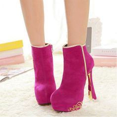 Womens Boots | Brilliant Suede Zipper Rose Round Closed Toe Stiletto Super High Heel Boots - Hugshoes.com