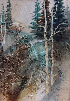 """Daily Painters Abstract Gallery: Abstract landscape, """"Into the Woods 2"""" © Carol Nelson Fine Art"""