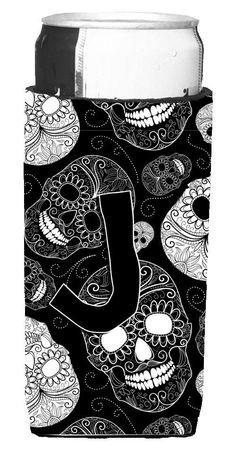 Letter J Day of the Dead Skulls Black Ultra Beverage Insulators for slim cans CJ2008-JMUK