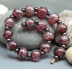 SJC Lampwork 16 handmade cranberry pink dichroic glass round beads ~SRA~ USA~ #SJCLampwork #Lampwork