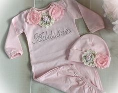 Personalized Newborn Girl Coming Home Outfit, Newborn Girl Gown, Pink Coming Home Outfit, Baby Girl Take Home Outfit Girls Coming Home Outfit, Take Home Outfit, Newborn Girl Outfits, Gowns For Girls, Baby Boutique, New Baby Products, Shabby Flowers, Cotton Fabric, Etsy