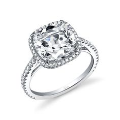 Sylvie Collection Platinum Cushion-Cut Diamond Engagement Ring, $2,410