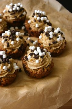 Brown Butter Oatmeal S'mores Cookie Cups w/ Graham Cracker Frosting!  Oh Dear!