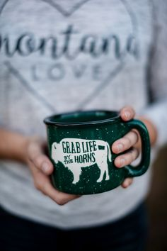 Grab Life By The Horns Camp Mug in Green
