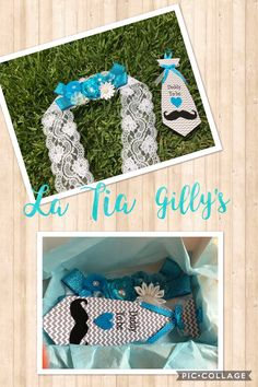 Baby boy maternity sash. Blue theme belly band. Pregnancy sash baby blue mustache theme. Dad to be tie in chevron in blue. Matching mom and dad baby shower sash.