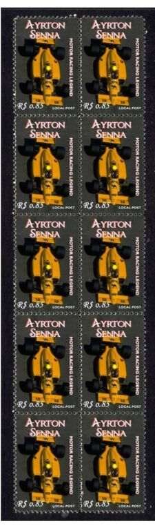 View item: AYRTON SENNA RACING LEGEND MINT STAMP STRIP, LOTUS 2