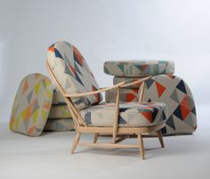 upcycled ercol chair. Geometric fabric