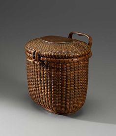 Antique Nantucket basket in dark patina.