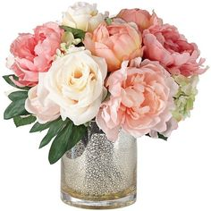 Peonies, Roses and Hydrangeas in a Large Mercury Glass Vase (7600 RSD) ❤ liked on Polyvore featuring home, home decor, floral decor, flowers, filler, flower stem, mercury glass home decor, rose home decor and flower home decor