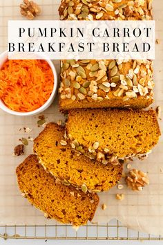 Packed with the goodness of pumpkin puree and shredded carrot and sweetened naturally, this healthy pumpkin carrot breakfast bread is nutritious and delicious! Topped with a crunchy topping of oats, pumpkin seeds, and walnuts, and made dairy free. Chocolate Pumpkin Bread, Starbucks Pumpkin Bread, Pumpkin Spice Syrup, Sugar Pumpkin, Pumpkin Puree, Oats Recipes, Pumpkin Recipes, Bread Recipes, Yummy Recipes
