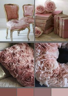 French Country Shabby Chic Pink Home Decor Books Antique Victorian Chair, Color Palette ♥ so beautiful